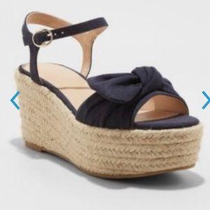 Ladies Happy Bow Espadrille Wedge Heels